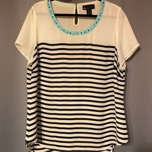 Lane Bryant Striped Rhinestone Scoop Neck Top